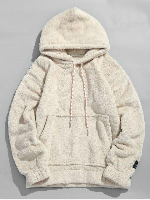 womens Solid Pouch Pocket Fluffy Hoodie - WARM WHITE M Mobile
