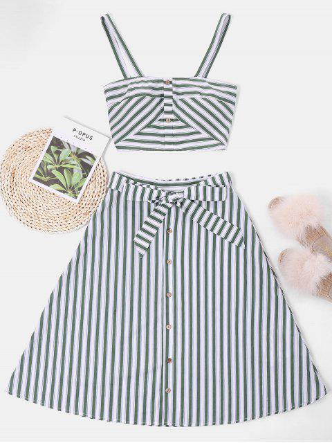 fancy ZAFUL Striped Top and Belted Skirt Set - WHITE XL Mobile