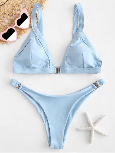 outfit ZAFUL Plunging Low Waist Bikini Set - LIGHT SKY BLUE L Mobile