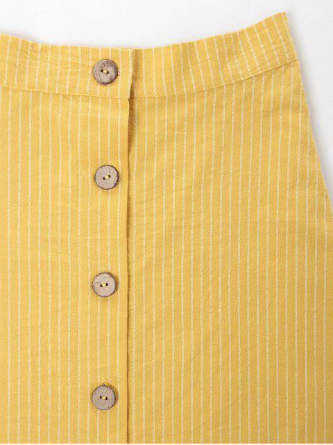 affordable ZAFUL Button Up Striped Maxi Skirt - MUSTARD L Mobile