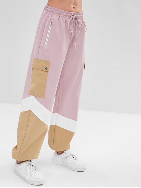 ZAFUL Color Block Drawstring Zip Jogger Pantalones - Rosado M Mobile