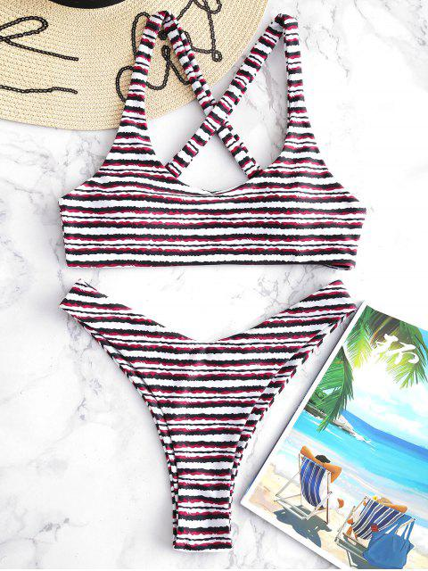 lady ZAFUL Crisscross Striped Bikini Set - MULTI M Mobile