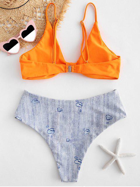 fancy ZAFUL High Cut Denim Print Bikini Set - ORANGE L Mobile
