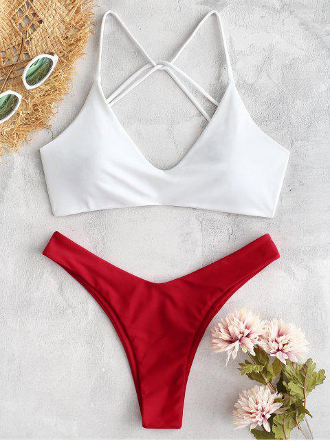 online ZAFUL Color Block High Leg Strappy Bikini Set - FIRE ENGINE RED L Mobile