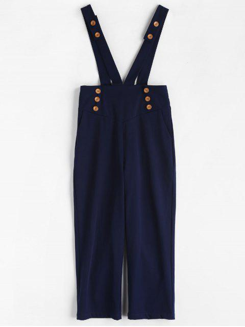 affordable ZAFUL High Waisted Suspender Pants - DEEP BLUE S Mobile