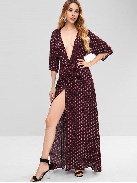 shop ZAFUL Plunge Slit Printed Maxi Dress - RED WINE S Mobile