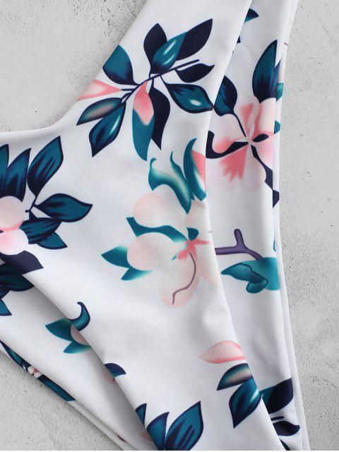 sale ZAFUL Plant Print Tie Front Bikini Set - ORANGE PINK M Mobile