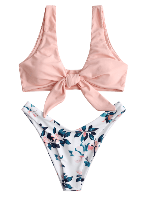 affordable ZAFUL Plant Print Tie Front Bikini Set - ORANGE PINK L Mobile