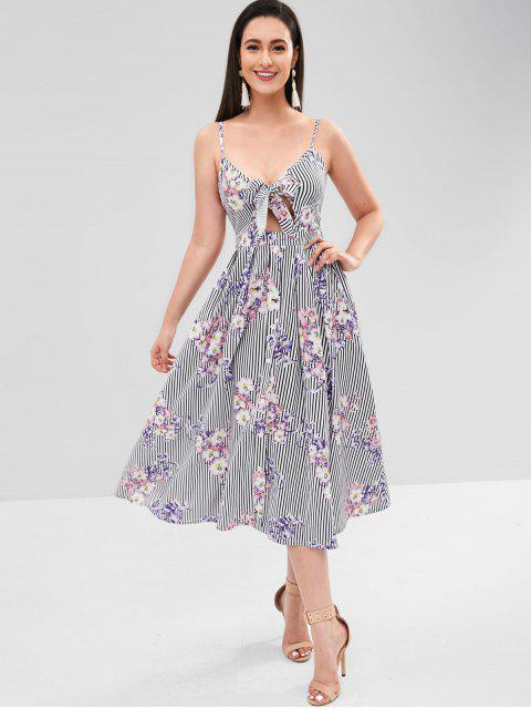 ZAFUL Tie Front Button Up Floral Vestido Cami - Multicolor S Mobile