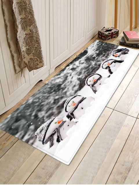 hot Christmas Snowman Brother Pattern Non-slip Flannel Floor Rug - GRAY W16 X L47 INCH Mobile