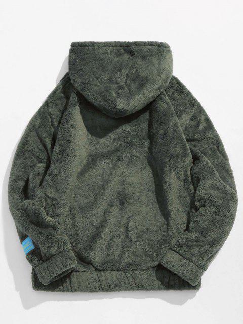 EinfarbigeTasche Flauschige Hoodie - Armeegrün XL Mobile