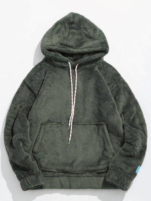 lady Solid Pouch Pocket Fluffy Hoodie - ARMY GREEN M Mobile