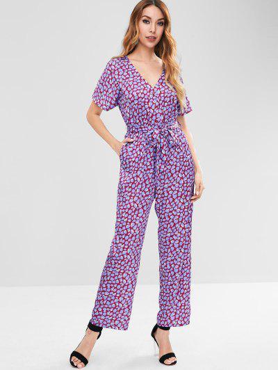 ZAFUL Spot Print Wide Leg Jumpsuit - Purple S