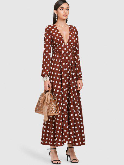 Zaful Polka Dot Plunge A Line Dress Brown L