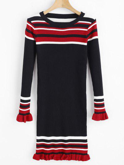 3ed9e1597db Stripes Ruffles Ribbed Sweater Dress - Black ...