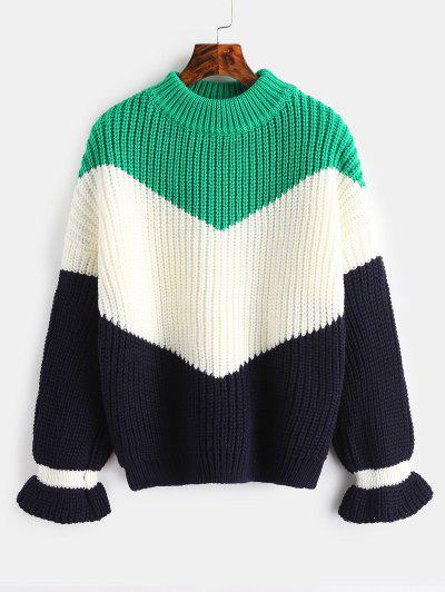0527e58484b Chunky Knit Color Block Sweater - Clover Green ...