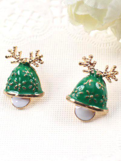 Aretes De Antler De Navidad Con Estilo - Verde De Jungla