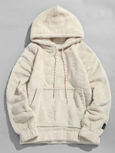 Solid Pouch Pocket Fluffy Hoodie - Warm White M