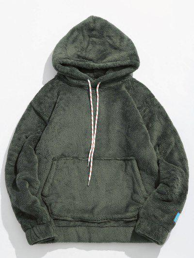 Solid Pouch Pocket Fluffy Hoodie - Army Green Xl