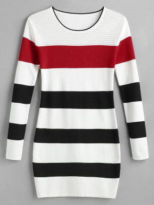 Color Block Gestreiftes Mini Sweater Kleid