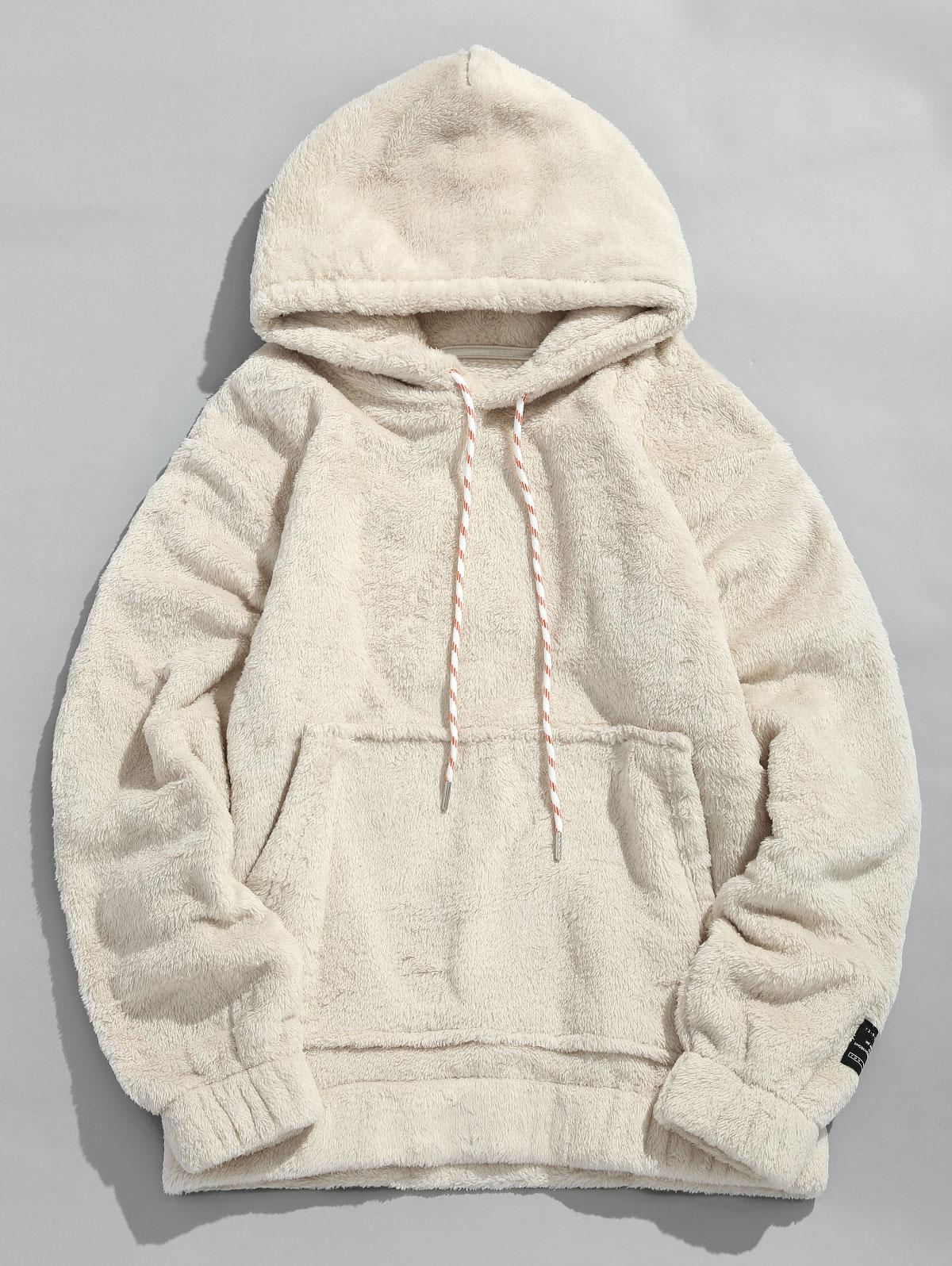 Solid Pouch Pocket Fluffy Hoodie