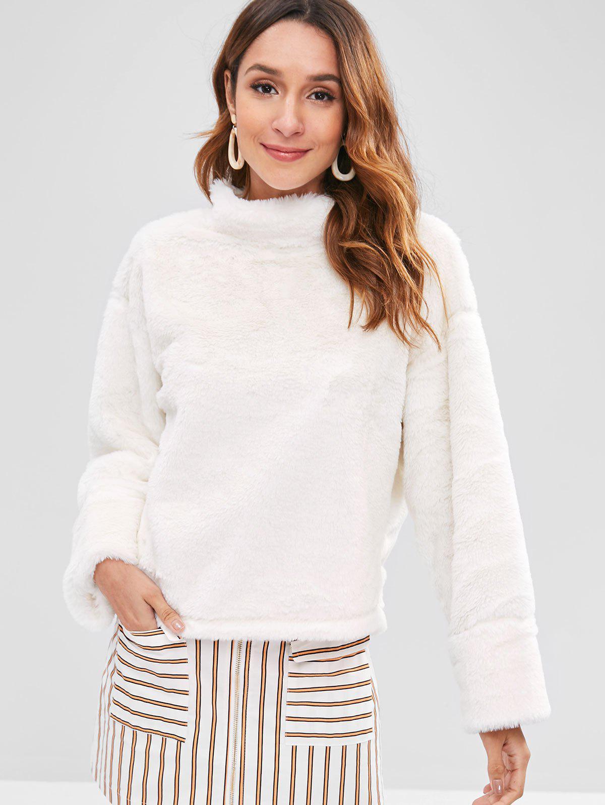 Stand Neck Fluffy Sweatshirt, White