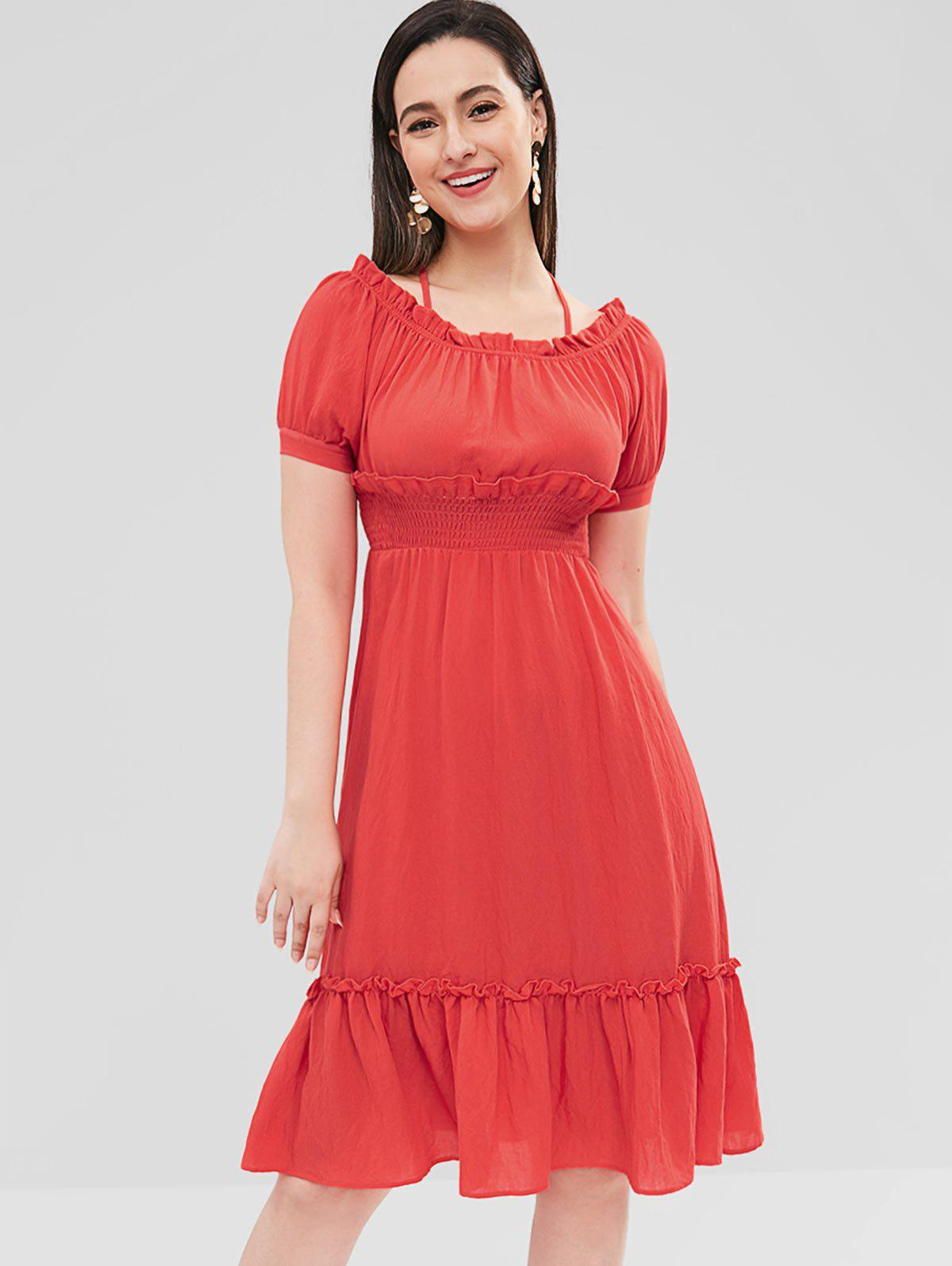 Shirred Waist Ruffle Dress