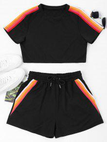 ZAFUL Striped Patched Top And Shorts Set - أسود L