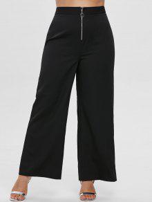 ZAFUL زائد الحجم سروال واسع الساق الأمامي الجبهة - أسود 1x