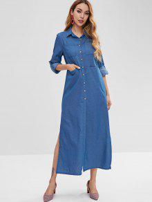 69fd0735b73 67% OFF  2019 Side Slit Button Up Shirt Dress In DENIM BLUE M