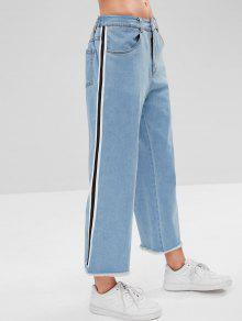 ZAFUL Side Stripes Frayed Hem Jeans - ازرق M