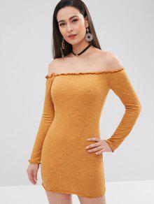 خس BODYCON قبالة الكتف اللباس - الذهب البرتقالي L
