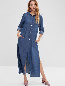 ارتفاع الشق جيوب فستان ماكسي - الدينيم الأزرق الداكن S