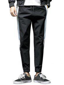 سروال الرباط عارضة لون التباين - أسود L