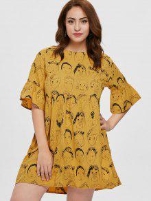 بالاضافة الى حجم اللباس المطبوعه البسيطة - الذهب البرتقالي 3x