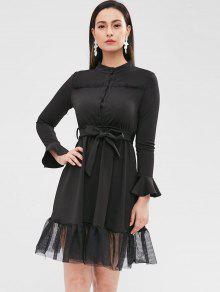 فستان طويل الأكمام مع لوحة شبكية - أسود L
