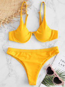 ZAFUL Underwire High Leg Bikini Set - أصفر فاقع L