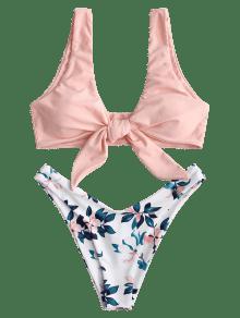 5f30528e7a0 35% OFF   HOT  2019 ZAFUL Plant Print Tie Front Bikini Set In ORANGE ...