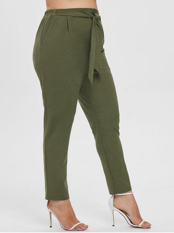 buy ZAFUL Plus Size Tied Pencil Pants - ARMY GREEN 2X