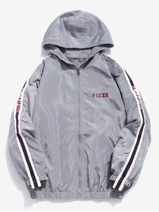women Side Striped Letter Hooded Jacket - GRAY M