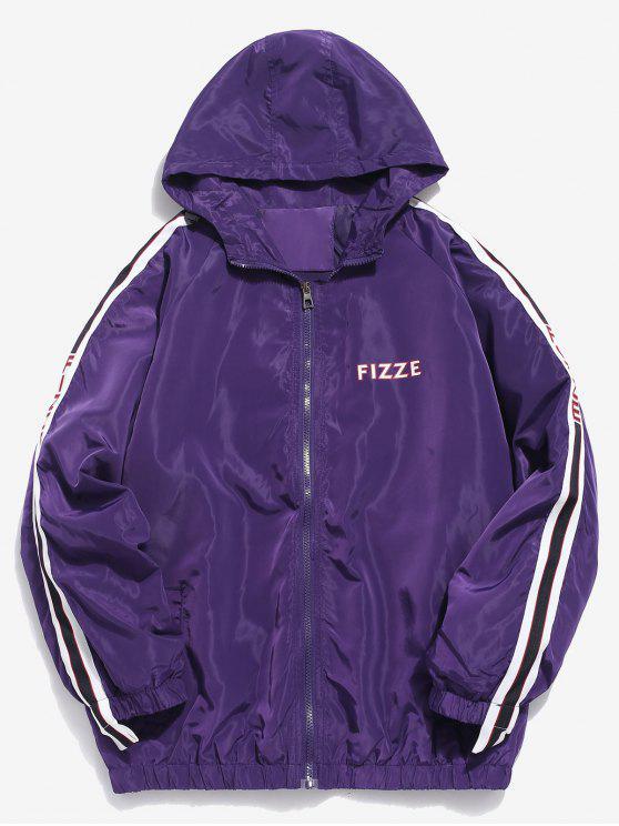 buy Side Striped Letter Hooded Jacket - PURPLE L