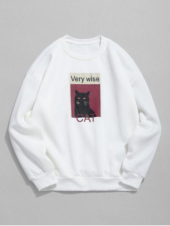 Katzen-Grafik-Fleece-Sweatshirt - Weiß L