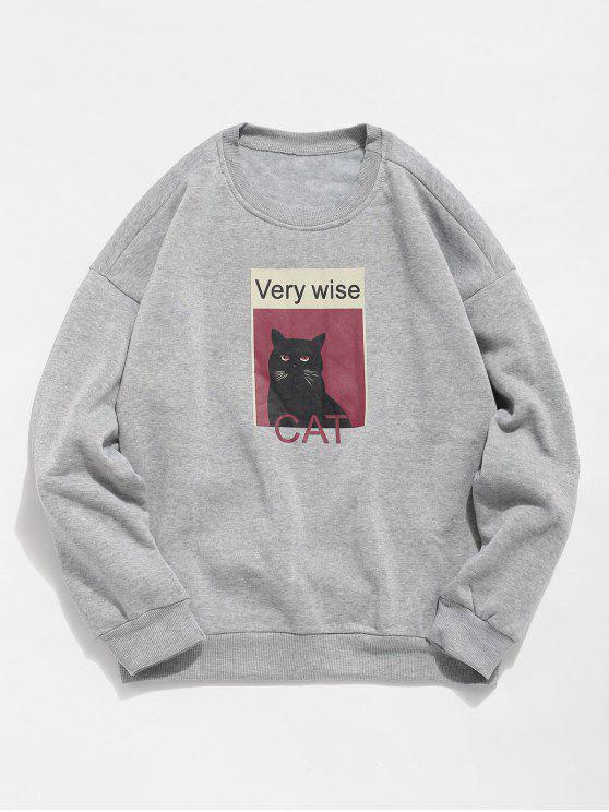 Katzen-Grafik-Fleece-Sweatshirt - Grau L