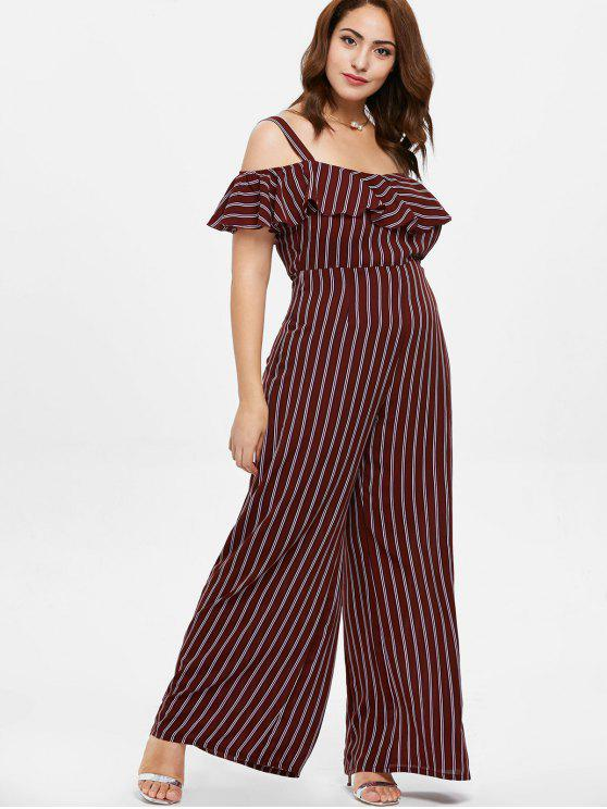 affordable ZAFUL Plus Size Flounce Striped Jumpsuit - RED WINE L