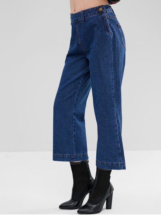 2019 Side Zipped Plain Wide Leg Jeans In DENIM DARK BLUE L  655f35dfa