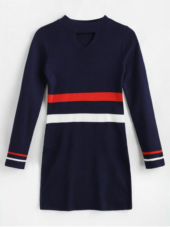 lady Striped Keyhole Mini Jumper Dress - MIDNIGHT BLUE ONE SIZE