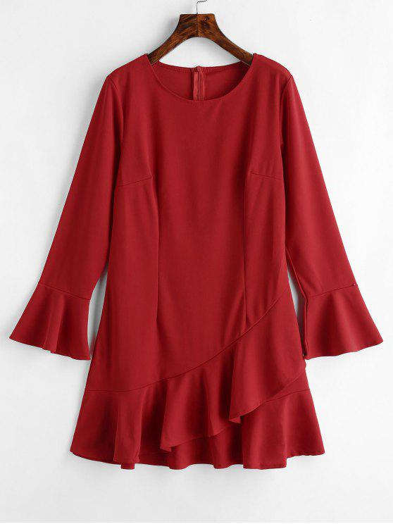 buy Flare Sleeve Ruffles Mini Dress - LAVA RED S