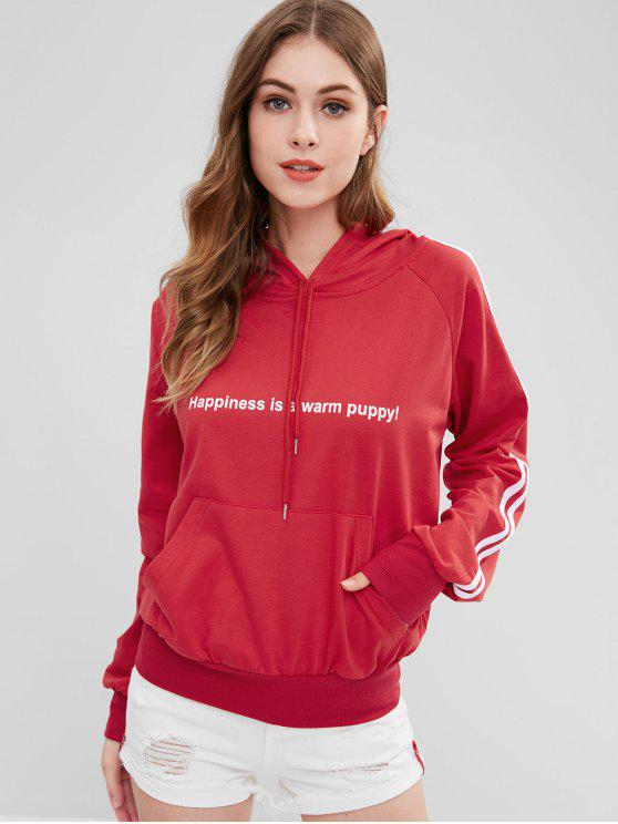 womens Puppy Embroidered Stripes Graphic Hoodie - RED XL