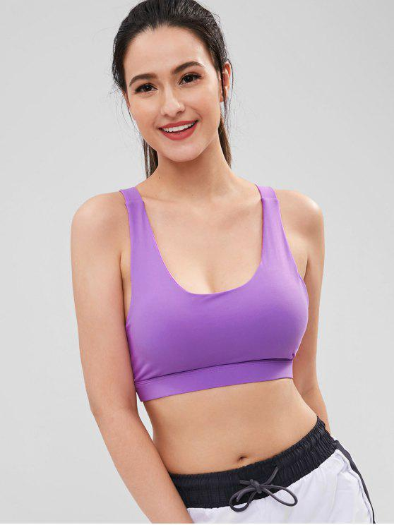 fancy Padded Perforated Sports Bra - PURPLE M