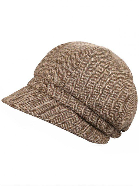women's Elegant Herringbone Pattern Newsboy Cap - CAMEL BROWN